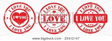 Postal stamp i love you. Vector illustration.