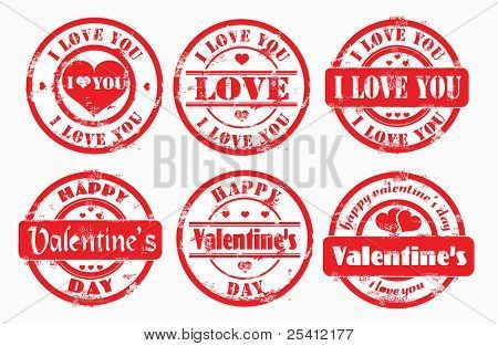 Stamp happy valentine's day and i love you. Vector illustration.