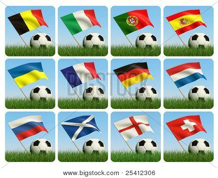Soccer ball in the grass and the flag against the blue sky. European flags. 3d