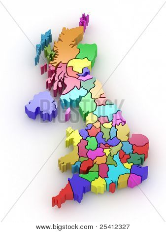 Three-dimensional map of Great Britain on white isolated background. 3d