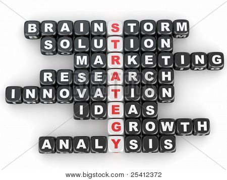 Conceptual image of strategy. Crossword fromblocks with letters. 3d