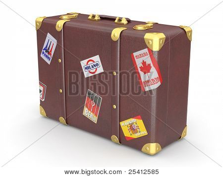 Leather suitcase on white isolated background. 3d