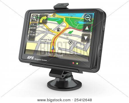 Navigationssystem. GPS auf weißem hintergrund isoliert. 3D