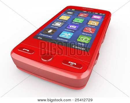 Red mobile phone on white isolated background. 3d