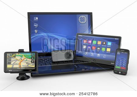 Elektronik. Laptop, Handy, TabletPC und Gps. 3D