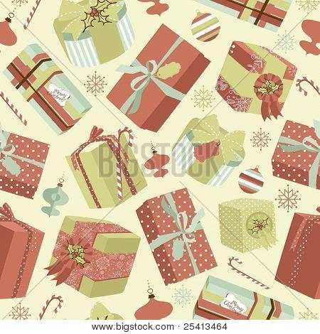 Retro Christmas Gift boxes. Seamless pattern