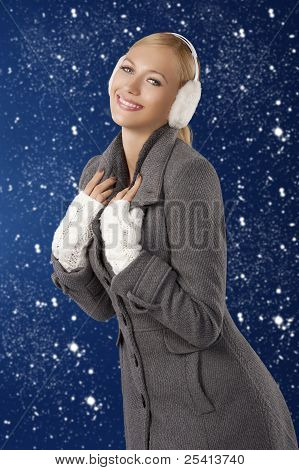 Cute Girl Ready For The Winter Cold Day Posing And Smiling
