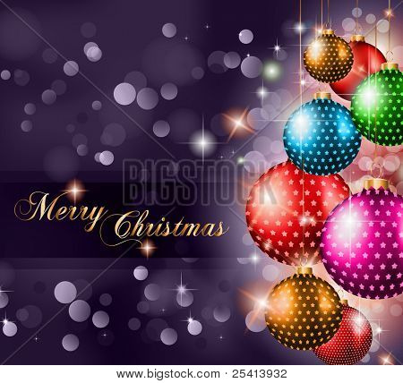 Elegant Classic Christmas Greetings background for flyers, invitations, cards or posters. New Baubleswith stars and Rainbow colours