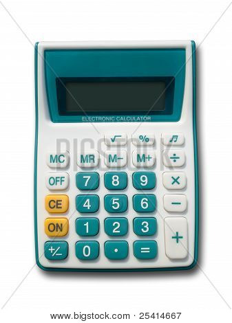 Front Of Green Calculator On A White Background