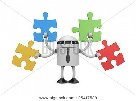 Robot businessman with puzzle. Image contain clipping path