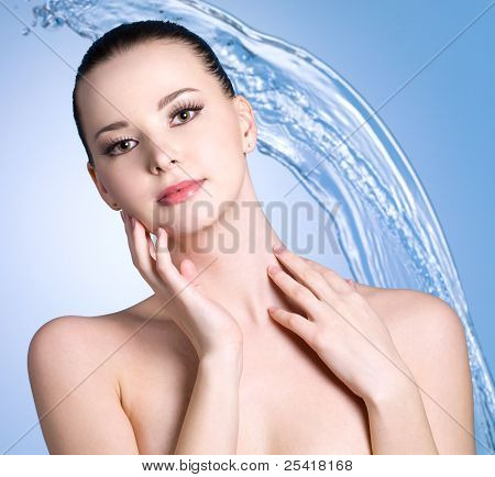 Woman With Stream Falling Water On Blue