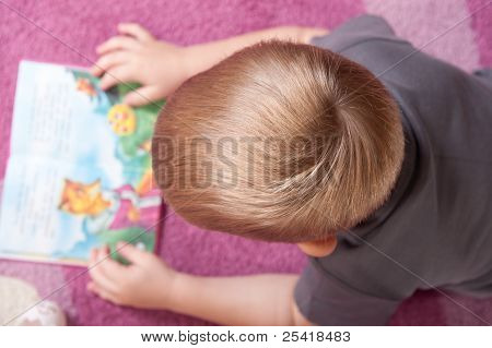 Cute Boy Is Reading Book