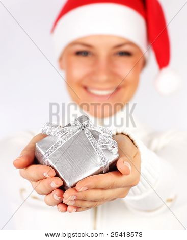 Happy Santa Girl With A Gift