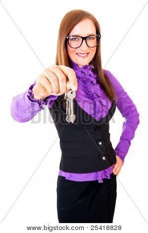 Realtor Handing The Keys Isolated Over White