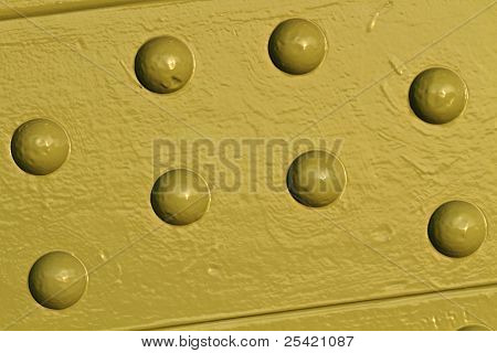 Painted Cast Iron Rivets Close Up