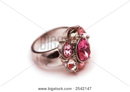 Ring With Red Stones Isolated On White