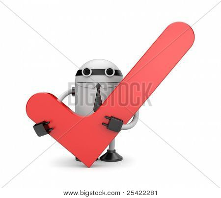 Robot with check. Image contain clipping path