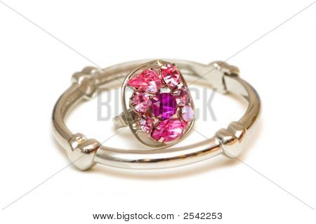 Bracelet And Ring Isolated On The White