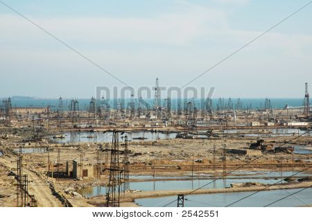 Abandoned Oil Derricks Near Baku, Azerbaijan