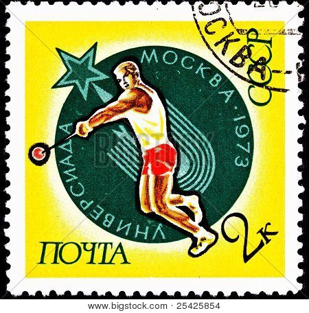 Soviet Russian Man Throwing The Hammer Throw