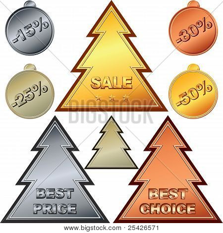Vector Christmas Set Of Gold, Silver, Bronze Price Tags And Sale Signs.