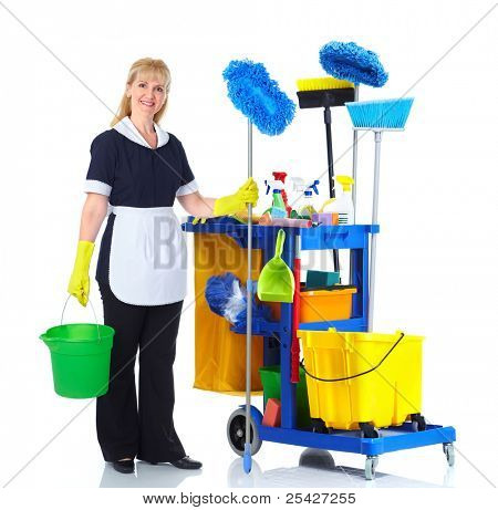 Cleaner maid woman with janitor cart. Isolated on white background..