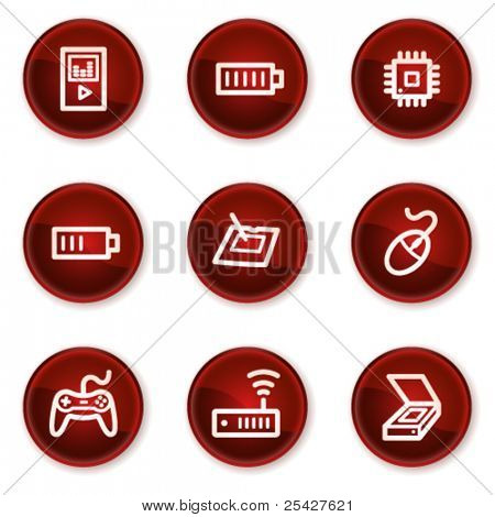 Electronics web icons set 2, dark red circle buttons