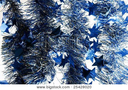 Blue Christmas Garland With Stars