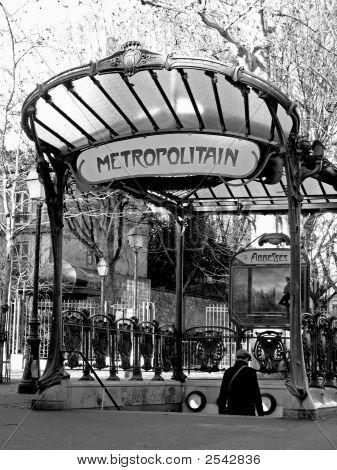Ancient Parisian Subway Station Entrance