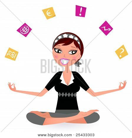Stressed Business Woman Juggling With Many Notes Isolated On White.busy Woman With Notes Trying To R