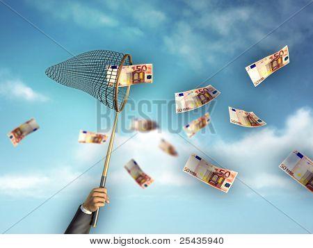 Businessman hunting for money using a net. Digital illustration.