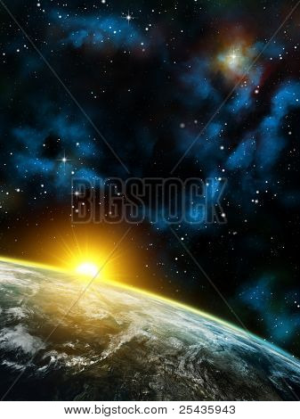 Gorgeous space panorama with the Earth, the Sun and some nebulas. Digital illustration.