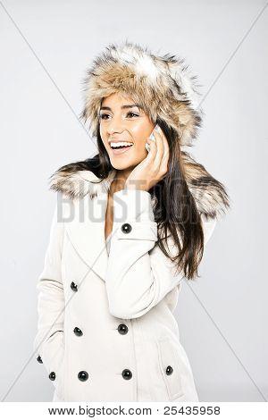 Glamorous Laughing Woman On Mobile Phone