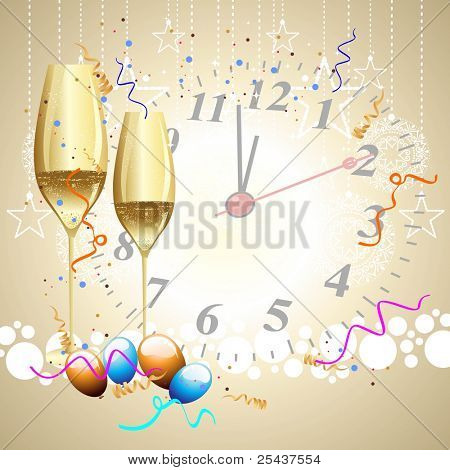 champagne glasses with balloons, ribbons in light color on clock background for party, new year & other occasions.
