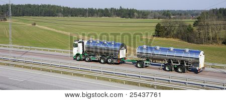 fuel-truck, tanker, in a panoramic and elevated view.