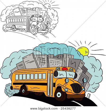 vector - Shool bus isolated on background