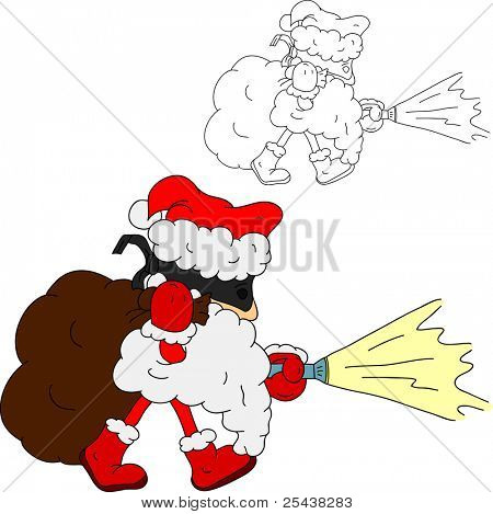 vector - Thief like Santa Claus, isolated on background