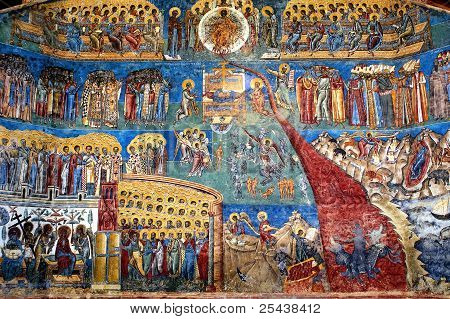 """""""the Judgment Day"""" Fresco On Western Wall Of Voronet Monastery, Suceava County, Moldova, Romania"""