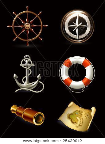 Marine set on black, high quality icons