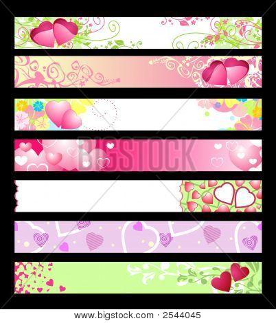 Love & Hearts Website Banners / Vector / Set #2