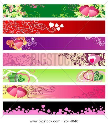 Love & Hearts Website Banners / Vector / Set #1