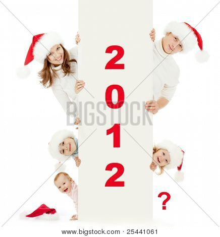 happy family in Christmas Santa's hats: 2 parents, 2 daughters, 1 son, and one empty space for new child.  2012 is encoded by picture. All red digits are easily removable.