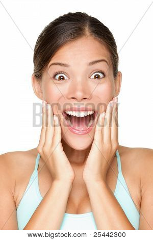 Surprised Happy Smiling Young Woman