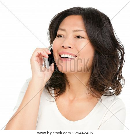 Middle Aged Asian Woman On Smartphone
