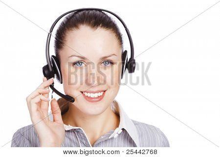 Friendly telephone operator smiling to you, isolated over white background