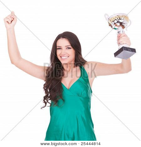 Woman Showing Her Big Trophy