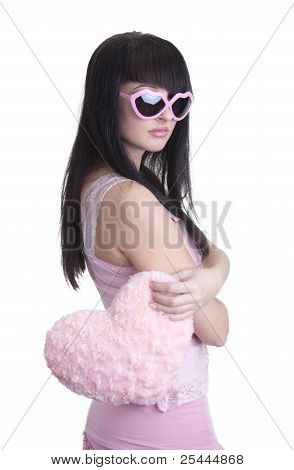 Beautiful Woman In Pink Glasses With Heart
