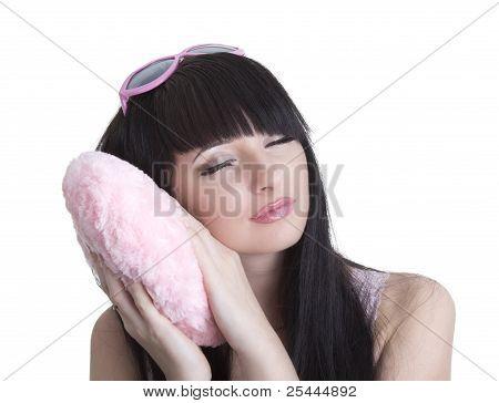Beautiful Sleeping Woman In Pink Glasses