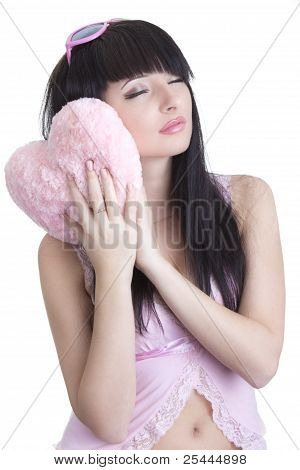 Beautiful Sleepy Woman In Pink