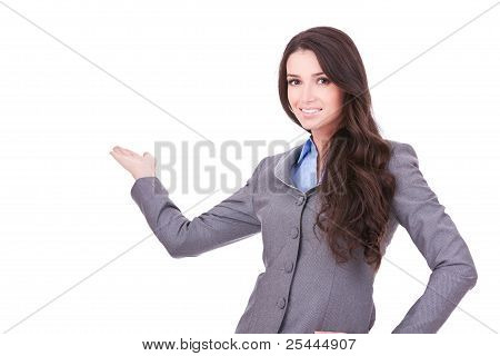 Woman With Her Arm Out In A Welcoming